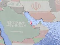 Qatar with flag on globe Royalty Free Stock Photo