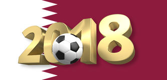 Qatar flag 2018 golden football soccer 3d render. Graphic Royalty Free Stock Image
