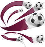 Qatar flag set with soccer ball Stock Photo