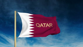 Qatar flag slider style with title. Waving in the royalty free illustration