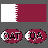 Qatar flag and sticker on the car with the acronym QA and QAT vector illustration