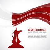 Qatar flag wave and Dallah coffee-pot monument symbols Royalty Free Stock Photos