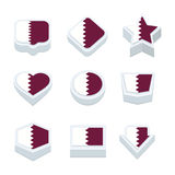 Qatar flags icons and button set nine styles Royalty Free Stock Photo