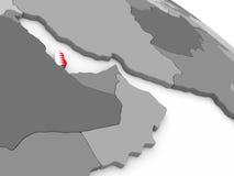 Qatar on globe with flag Royalty Free Stock Image