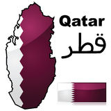 Qatar map and flag Royalty Free Stock Images