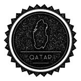 Qatar Map Label with Retro Vintage Styled Design. Hipster Grungy Qatar Map Insignia Vector Illustration. Country round sticker Royalty Free Stock Image