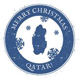 Qatar map. Vintage Merry Christmas Qatar Stamp. Stylised rubber stamp with county map and Merry Christmas text, vector illustration Royalty Free Stock Image