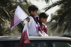 Qatar National Day 2010. DOHA, QATAR - DECEMBER 18: National day is celebrated with parades, marches and cavalcades around the corniche on December 18, 2010 in Royalty Free Stock Image