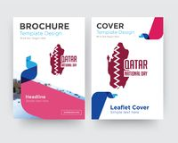 Qatar national day brochure flyer design template. With abstract photo background, minimalist trend business corporate roll up or annual report Stock Photo