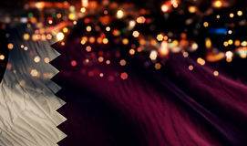 Qatar National Flag Light Night Bokeh Abstract Background Stock Images