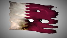 Qatar perforated, burned, grunge waving flag loop alpha stock video