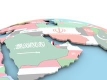 Flag of Qatar on bright globe. Qatar on political globe with embedded flags. 3D illustration Royalty Free Stock Photography