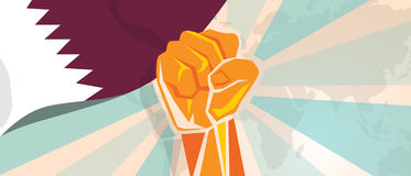 Qatar propaganda poster fight and protest independence struggle rebellion show symbolic strength with hand fist. Vector royalty free illustration