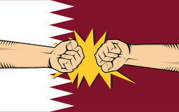 Qatar protest with hand fist clash fight with qatar flag as background Royalty Free Stock Photos