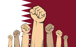 Qatar protest with hand fist with qatar flag as background Stock Images