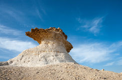 Qatar. Ras Abrouq, the large desertic area with the picturesqe limestone royalty free stock image