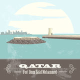 Qatar. Retro styled image. Fort Umm Salal Mohammed Stock Image