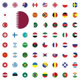 Qatar round flag icon. Round World Flags Vector illustration Icons Set. Qatar round flag icon. Round World Flags Vector illustration Icons Set Stock Photos