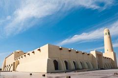 Qatar state mosque. The state mosque in Doha, Qatar.  Wide angle with barrel distortion Royalty Free Stock Photography