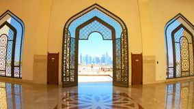 Qatar State Mosque entrance. Doha, Qatar - February 21, 2019: decorated entrance door inside Imam Abdul Wahhab Mosque. Qatar State Mosque in arab style, Middle stock video