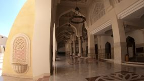 Qatar State Mosque interior. Doha, Qatar - February 21, 2019: inside of Imam Abdul Wahhab Mosque with decorated marble. State Qatar Grand Mosque in Middle East stock video footage