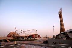 Qatar streeft sportenacademie bij schemer royalty-vrije stock fotografie