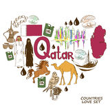 Qatar symbols in heart shape concept Royalty Free Stock Photo