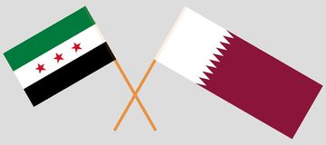 Qatar and Syria. The Qatari and Syrian National Coalition flags. Official colors. Correct proportion. Vector. Illustration royalty free illustration