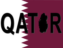 Qatar text with map Royalty Free Stock Images