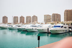 Qatar yacht marina view Royalty Free Stock Photos