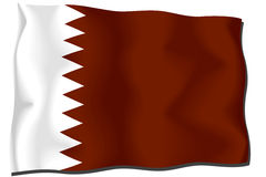 qatari σημαιών Στοκ εικόνα με δικαίωμα ελεύθερης χρήσης