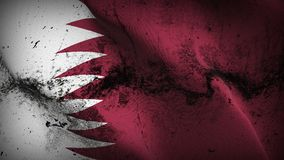 Qatar grunge dirty flag waving on wind. Qatari background fullscreen grease flag blowing on wind. Realistic filth fabric texture on windy day Stock Photos