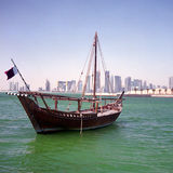 Qatari boom and skyline Royalty Free Stock Images