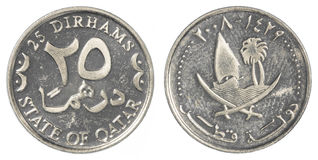 25 Qatari Dirham moneta Zdjęcia Stock