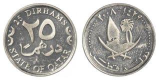 25 Qatari-Dirhammuntstuk Stock Foto's