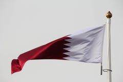 Qatari flag. Qatar flag on a windy day Stock Photos