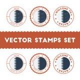 Qatari flag rubber stamps set. Royalty Free Stock Photos
