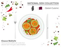 Qatari kokkonst Mellanösten nationell maträttsamling Kousa Mahshi som isoleras på vitt, infograpic royaltyfri illustrationer