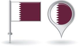 Qatari pin icon and map pointer flag. Vector Royalty Free Stock Image