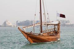 Qatari pleasure dhow. A dhow waits for customers in Doha Qatar Stock Photography