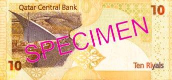 10 qatari riyal bank note bank note full frame reverse. Specimen stock images
