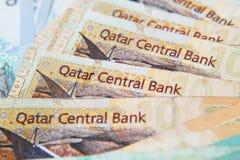 Qatari riyals, Qatari paper currency. Close up royalty free stock images