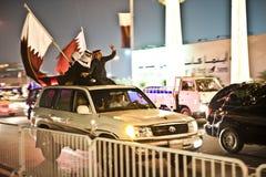 Qataris che celebra giorno nazionale Fotografia Stock Libera da Diritti