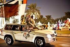Qataris che celebra giorno nazionale Immagine Stock