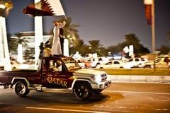 Qataris que celebra día nacional Fotos de archivo libres de regalías