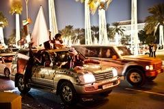 Qataris que celebra día nacional Imágenes de archivo libres de regalías