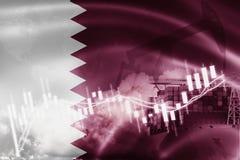 Qatarisk flagga, aktiemarknad, utbytesekonomi och handel, oljeproduktion, behållareskepp i export och importaffär och logistik stock illustrationer