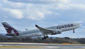 Qatarisk flygbuss a330 Arkivbild