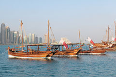 Qatariska dhows på show Royaltyfri Bild