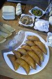 Qatayef or Katayef, Arabic Sweets with Nuts for Ramadan and Eid. Qatayef or Katayef, Arabic Sweets with Nuts and Other Ingredients for Ramadan and Eid Royalty Free Stock Photography